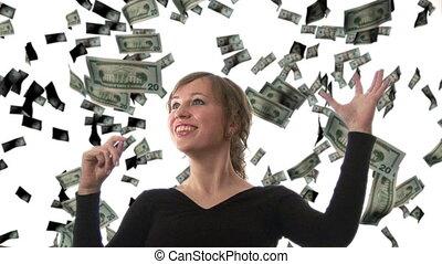 Businesswoman catching Dollars