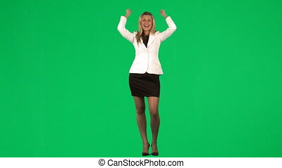 Businesswoman celebrating a success