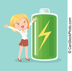 Businesswoman character full of energy. Vector flat cartoon...