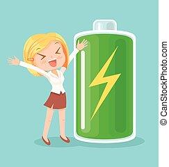 Businesswoman character full of energy. Vector flat cartoon illustration
