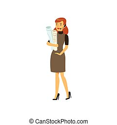 Businesswoman character in formal wear and headset standing...