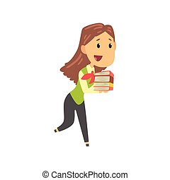 Businesswoman character in formal wear carrying pile of document folders, business person at work cartoon vector illustration