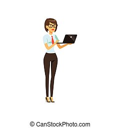 Businesswoman character in formal wear standing with laptop...