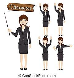 Businesswoman character set vector illustration
