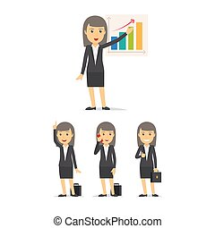 Businesswoman character vector set - Businesswoman...