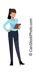 Businesswoman character. Young business woman successful professional working in modern office vector concept