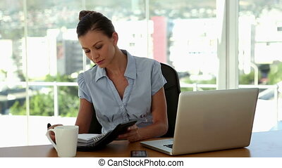 Businesswoman checking her agenda sitting in her office
