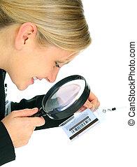 Businesswoman Checking Name Tag Closeup