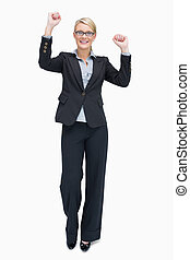 Businesswoman cheering