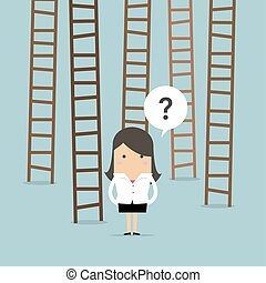 Businesswoman choices ladder to success.