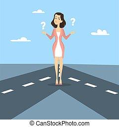 Businesswoman choose road.