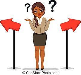 Businesswoman Choosing Way Concept