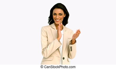 Businesswoman clapping and smiling in slow motion
