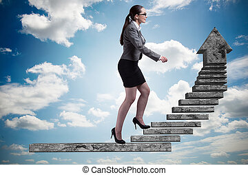 Businesswoman climbing career ladder concept