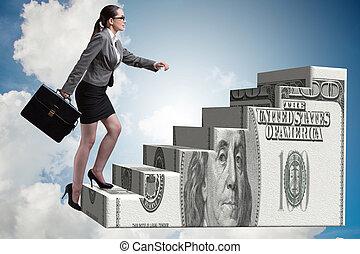 Businesswoman climbing dollar ladder concept