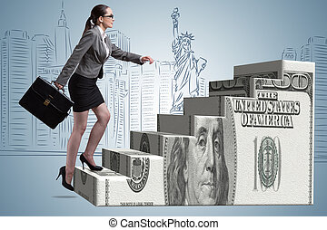 Businesswoman climbing dollar ladder concept