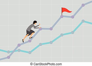 Businesswoman climbing up the rising financial chart. Business concept illustration. Vector.