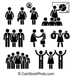 Businesswoman Clipart - A set of human stick figure...