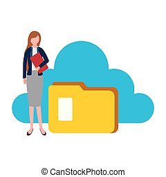 businesswoman cloud computing folder file