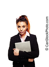 Businesswoman clutching her laptop