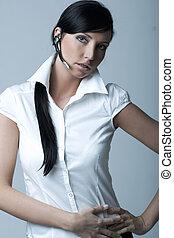 Businesswoman (Cold-Ver) - Beautiful brunette business woman...