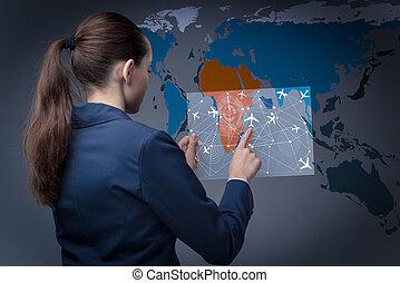 businesswoman, concept, vervoer, lucht