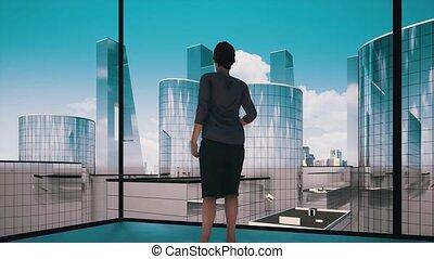 Businesswoman contemplating next big business deal video concept