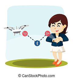 businesswoman controling drone with