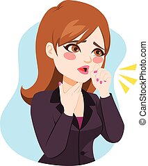 Businesswoman Coughing