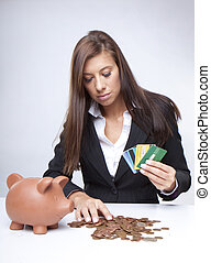businesswoman counting her sawings