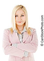Businesswoman crossed hands