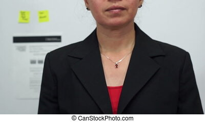 Businesswoman Cuts Costs Concept - Female office worker or...