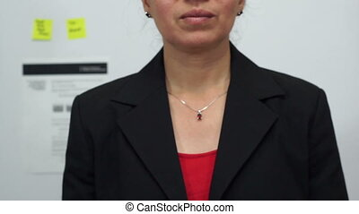 Businesswoman Cuts Prices Concept - Female office worker or...