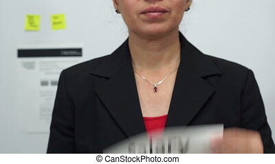 Businesswoman Cuts Salary Concept - Female office worker or...