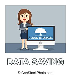 Businesswoman data saving photo text style