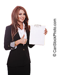 Businesswoman demonstrating with clipboard