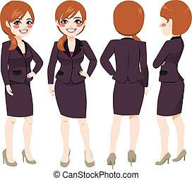 Businesswoman Different Angle View - Happy smiling young...