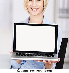 Businesswoman Displaying Laptop In Office
