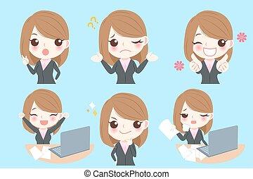 businesswoman do different emotion - cute cartoon...