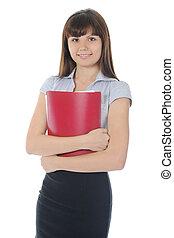 businesswoman, documenten, vasthouden