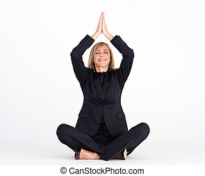 Businesswoman doing relaxation exercises