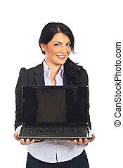 businesswoman, draagbare computer, houden, scherm, leeg