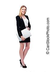 businesswoman, draagbare computer, vasthouden, vrolijke