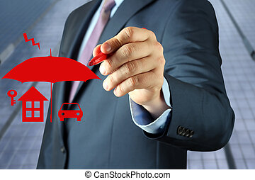 Businesswoman drawing drawing insurance concept by a red pen