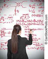 Businesswoman drawing formula