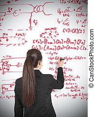 Businesswoman drawing formula