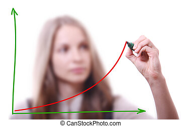 Businesswoman drawing growth chart, isolated