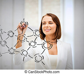 businesswoman drawing network contacts