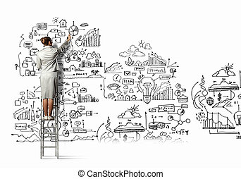 Businesswoman drawing sketch - Back view of businesswoman...