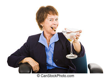 Businesswoman Drinking - Mature businesswoman celebrating...